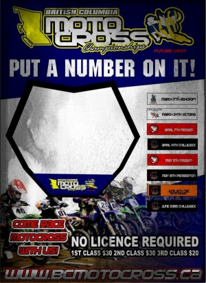 FUTURE WEST BRITISH COLUMBIA MOTOCROSS CHAMPIONSHIPS: NO LICENCE OR SERIES FEE
